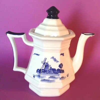 Octagon Shaped Large Tea Pot - Cobalt Blue And White With Windmill