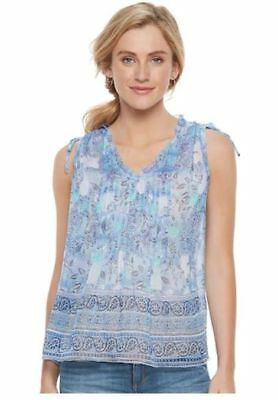 8b223411529458 SONOMA Goods For Life Pintuck Print Top with Cami Sz XL (Bust 48) Blue
