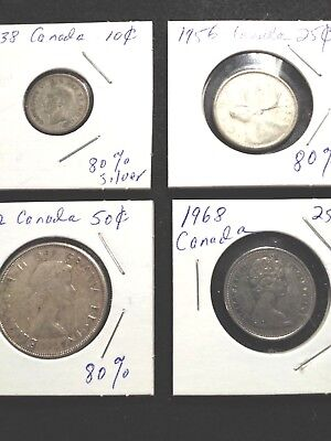 Lot of (3) Canadian Silver Coins w/ Free Gift of 1 extra coin