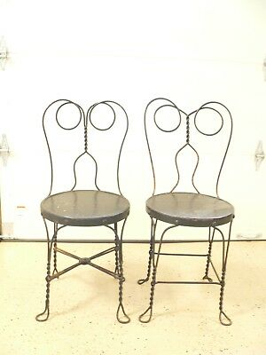 Set Of (2) Antique Twisted Metal Iron Ice Cream Parlor Bistro Chairs