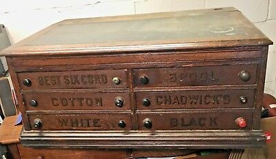 Antique Clark's O.n.t. 6 Drawer Spool Cabinet / Desk With Slant Top Opening