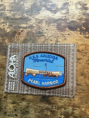 Vintage Embroidered Patch Badge Souvenir USS Arizona Memorial Pearl Harbor