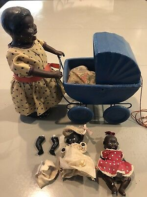 Scarce Antique Black Americana Mother Pushing Carriage Stroller Pull Doll