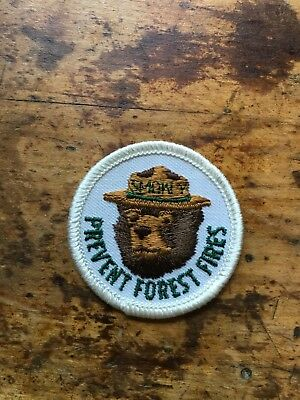 Vintage Embroidered Badge Souvenir Patch Smoky The Bear Prevent Forest Fires