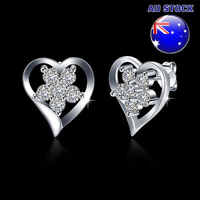 Wholesale 925 Sterling Silver Filled Cubic Zirconia Crystal Love Heart Stud Earr