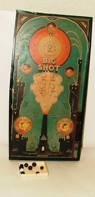 % 1940's Gotham Pressed Steel Mfg. Big Shot Pinball Game 24 Inches Tall