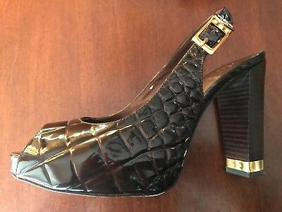 235325398622 Tory Burch Patent Leather Allison Croc Platform Slingback Peeptoe Brown 5.5M