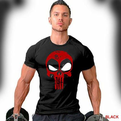 Deadpool T-Shirt Distressed Punisher Skull Crossover Workout Gym Apparel F067