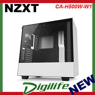 NZXT H500i Smart RGB Tempered Glass Mid-Tower ATX Case  Matte White CA-H500W-W1