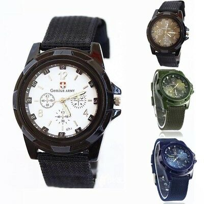 Outdoor Army Racing Force Military Sport Mens Weave Fabric Band  Alloy Watch LX
