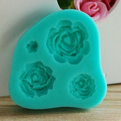 3D Rose Flower Silicone Cookie Fondant Mold Cake Soap Chocolate Baking Mould 8C
