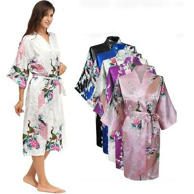 FLORAL SATIN ROBE Kimono Women Dressing Gown Wedding Party Bridesmaid Nightgrown