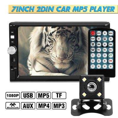 7 Inch 2DIN Car MP5 Player Bluetooth Touch Screen Stereo Radio HD + Rear Camera