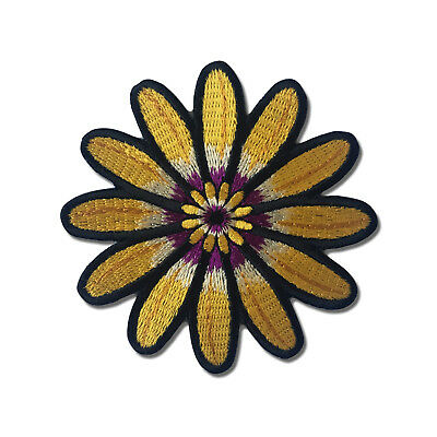Embroidered Yellow Purple White Flower Sew or Iron on Patch Biker Patch