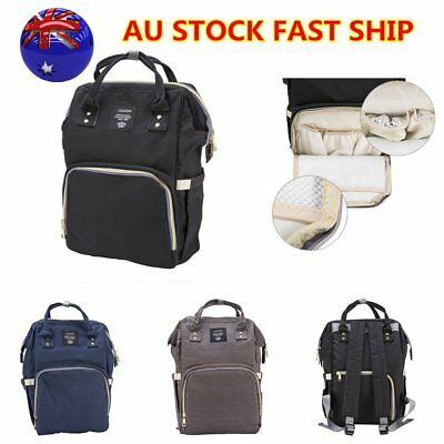 Waterproof Multifunctional Mummy Baby Diaper Nappy Backpack Changing Bag AU