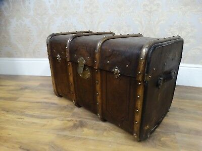 Stunning antique Bentwood steamer trunk, Brass leather & Canvas Made in Geneva