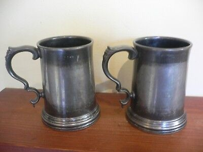Two Half Pint Pewter Tankards, Glass Bottoms, James Dixon