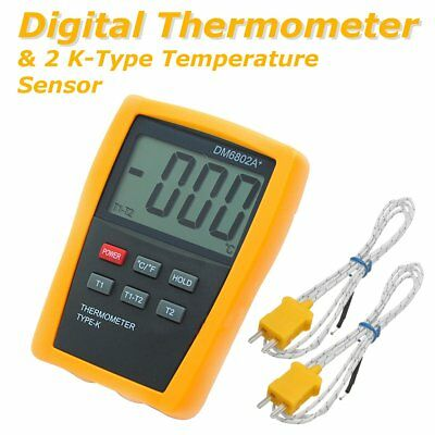 LCD Digital Thermometer & 2Pcs K Type Thermocouple Sensor 1300°C 2372 °F