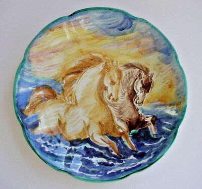 Vintage Hand Painted Horses Art Pottery Platter Made in Italy Mid Century Modern