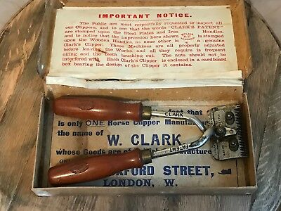 Vintage Clarks No 1 Horse Clippers Wooden Handles In Original Box Equestrian