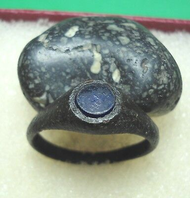 Ancient Roman Bronze Ring with Blue stone Original Authentic Antique Rare R371