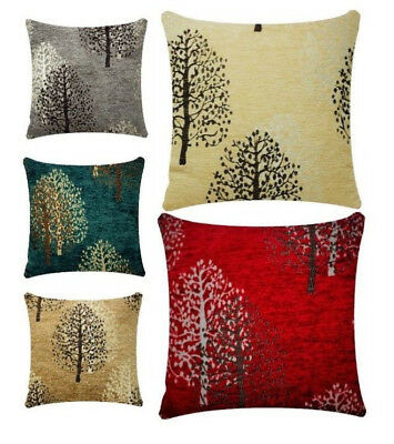 Chenille Velvet Woodland Tree Print Square 17 x 17 inch Cushion for Bed Sofa