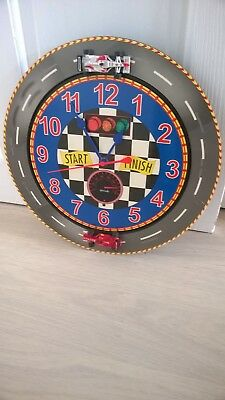Vintage ? Childrens Formula F! Racing Cars with Sound & movement Wall Clock