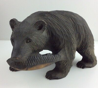 Rare Vintage Black Forest Style Hand Carved Detailed Wooden Bear & Fish Statue