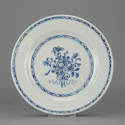Lovely Antique Chinese Porcelain 18C Cobalt Blue White Flowers plate [:z...