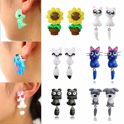 Women Stud Earrings Jewelry Girl Cute 3D Cartoon Animal Fox Cat Polymer Clay Ear