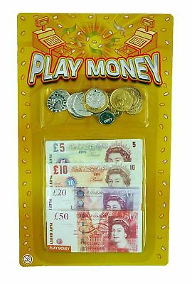 Childrens Kids Fake Money Play Set Coins Notes Paper Pounds Plastic Pennies It