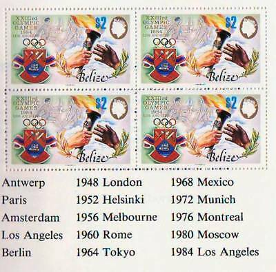 BELIZE - 1984 - OLYMPIC GAMES $10  BOOKLET - STITCHED - 4 PANES of 4 -MNH