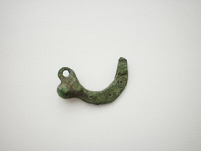 RARE ANCIENT Decorated Bronze Phallic Amulet Pendant Goths 2 - 4 century AD