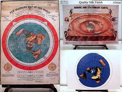 3 Flat Earth Prints - GLEASON'S WORLD MAP + SQUARE & STATIONARY EARTH + AZIMUTH