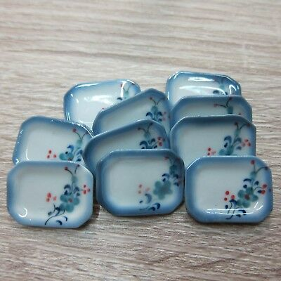 15x25 mm Mix Scalloped Plate Dollhouse Miniatures Ceramic Hand Painted-1