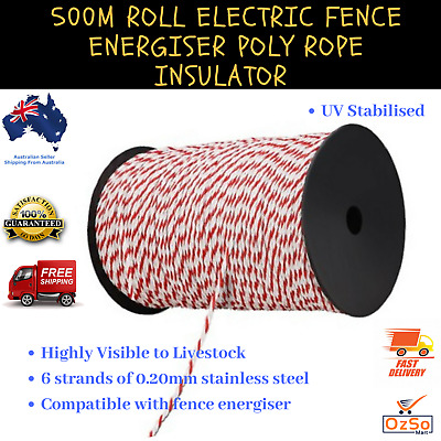 Giantz 500m  x  4mm Electric Fence Poly Rope Polywire Stainless Steel Polyrope