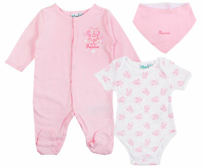Disney Minnie Mouse 3 Piece Gift Set Babygrow Bodyvest + Bib Baby Boys Outfit