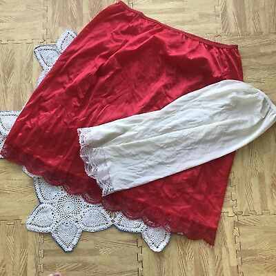 Set Of 2 Vintage Luxer Dame Size Large 40-42 Half Slips Red & White