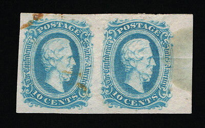 Genuine Confederate Csa Scott #11 Pair Mint Og Blue Die-A Archer & Daly Printing