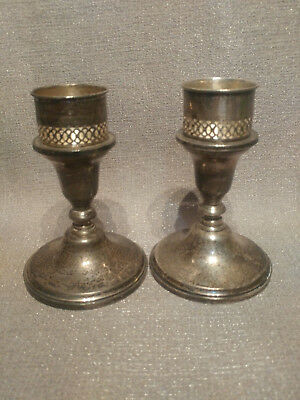 Pair of Towle Sterling Silver Candlestick Candle Holders Weighted With Adapters
