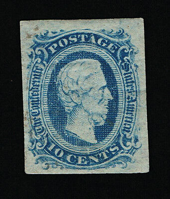 Genuine Confederate Csa Scott #11 Mint Blue Die-A Archer & Daly Printing