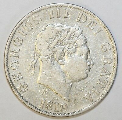 1819 George III Sterling Silver Halfcrown About Very Fine Condition
