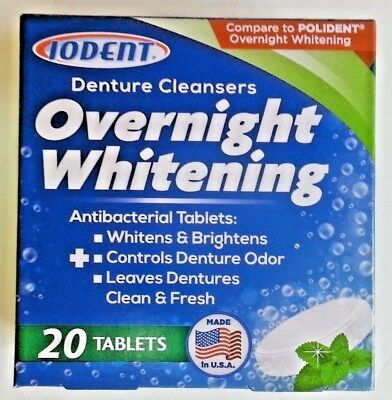 Iodent OVERNIGHT WHITENING DENTURE CLEANSERS brightens fresh 20 TABLET PACKS