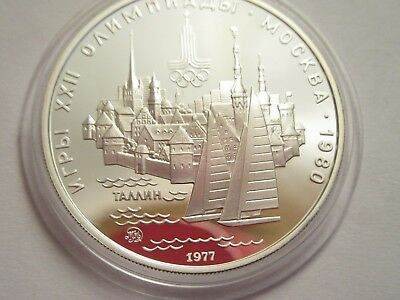 1977 Russia Proof Silver 5 Roubles - 1980 Moscow Olympics Sailing