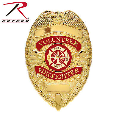 Volunteer Firefighter Badge, Gold Fire Shield FD Department Deluxe Pin-Back 1929