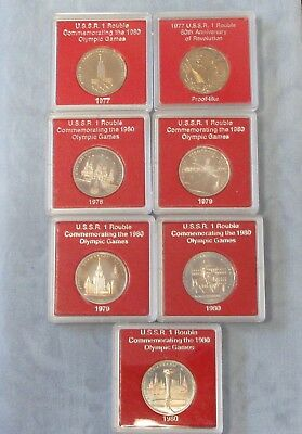 7 Different USSR Soviet Union Commemorative One Rouble Coins 1977-1980