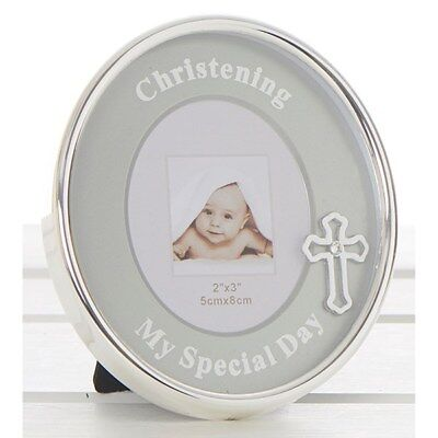 small oval christening photo frame picture silver gift present 10 x 9 cms