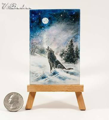 Dollhouse Miniature oil painting ~ The wolf howls to the moon ~ Hand Painted