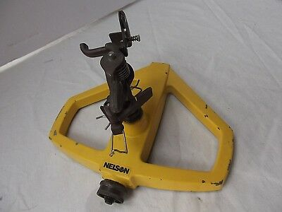 vintage Nelson yellow metal lawn garden Alpha-II P AS sprinkler MINT