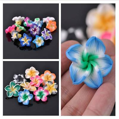 15/20/30mm Bulk Carved Lily Flower Polymer Clay Resin Loose Spacer Beads